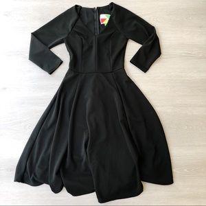 ModCloth Fervour Long Sleeve Classic Black Dress
